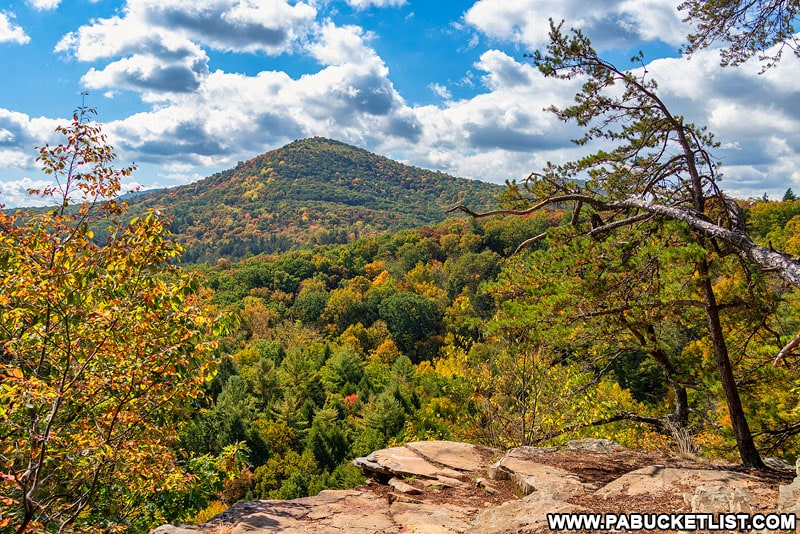 An autumn scene at the Ledges Trail Overlook at Trough Creek State Park.