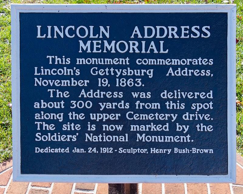 Lincoln Address Memorial marker at Gettysburg National Cemetery.