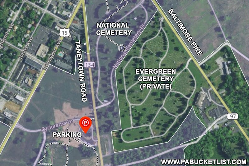 A map showing where to park when visiting the Gettysburg National Cemetery