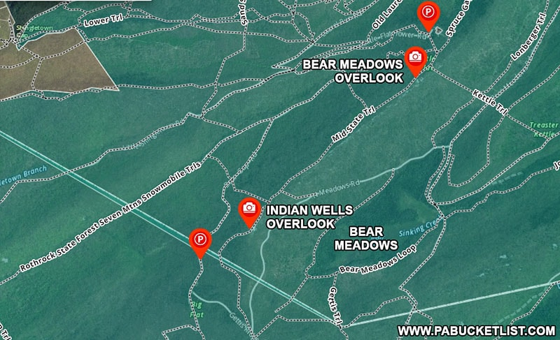 A map to Indian Wells Overlook and Bear Meadows Overlook along the Mid State Trail in Centre County