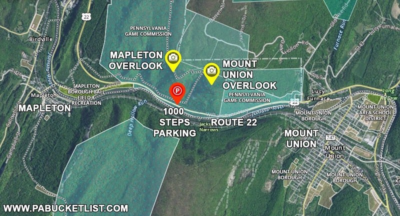 Directions to Mapleton Overlook and Mount Union Overlook in Huntingdon County Pennsylvania