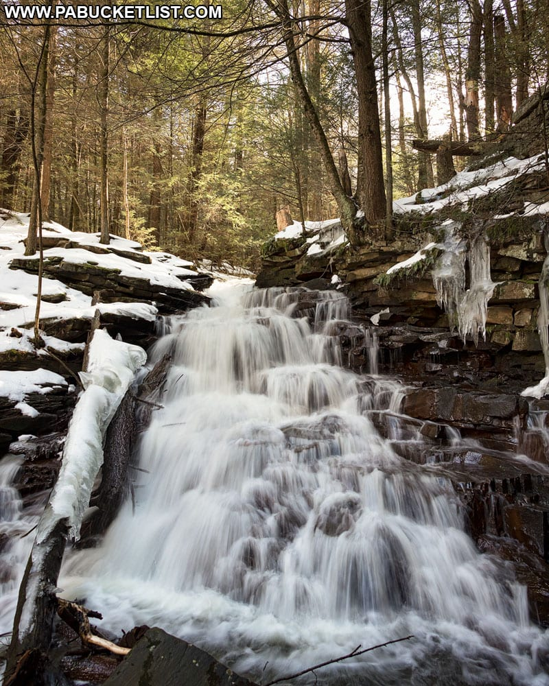 Winter at McElhatten Falls in Clinton County.