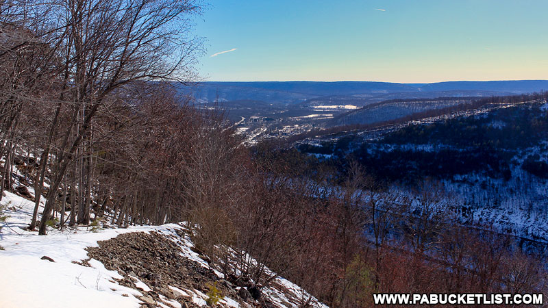 The Mount Union Overlook near the top of the 1000 Steps in the wintertime.