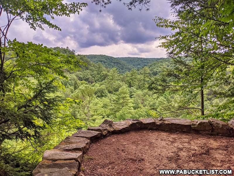 Rainbow Falls Overlook along the Ledges Trail at Trough Creek State Park.