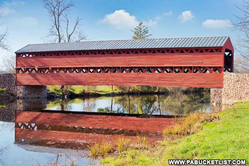 Side view of Sachs Covered Bridge near Gettysburg PA