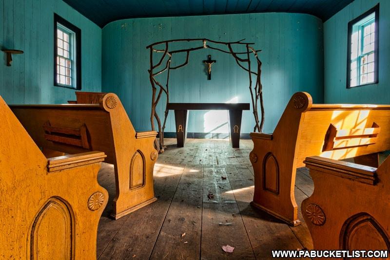 Interior view of Saint Severin Old Log Church.