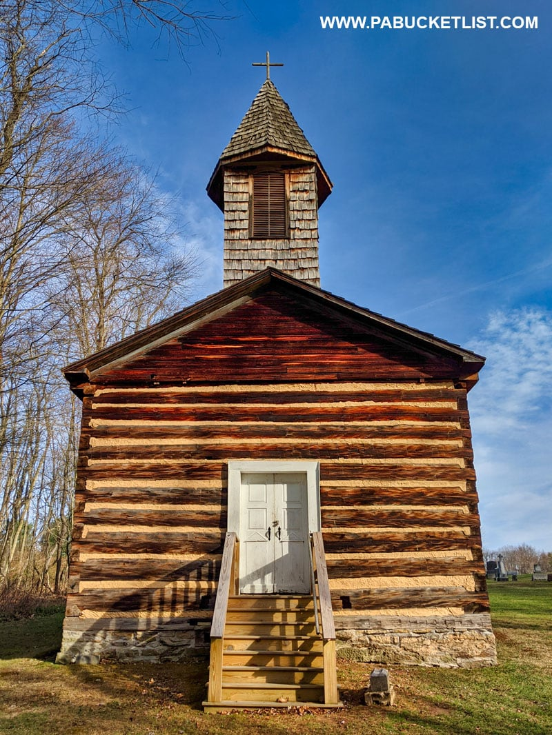 Front view of the Saint Severin Old Log Church in Clearfield County.