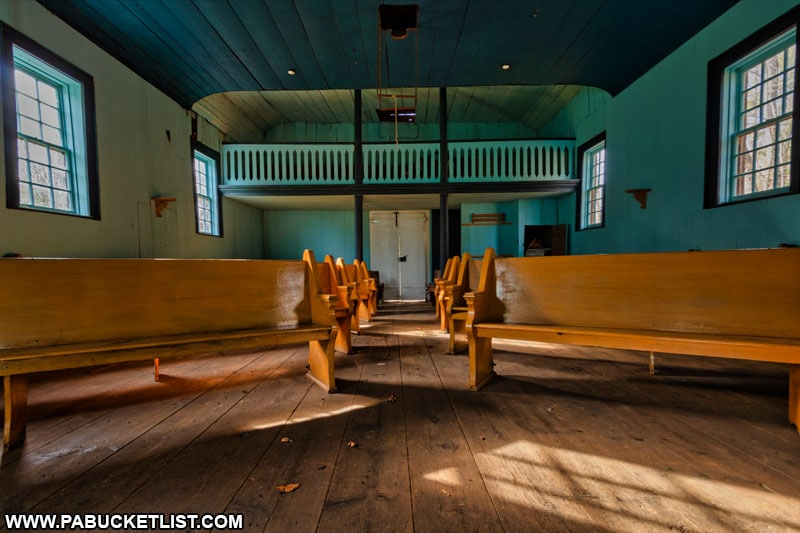 The pews inside the Saint Severin Old Log Church in Clearfield County.