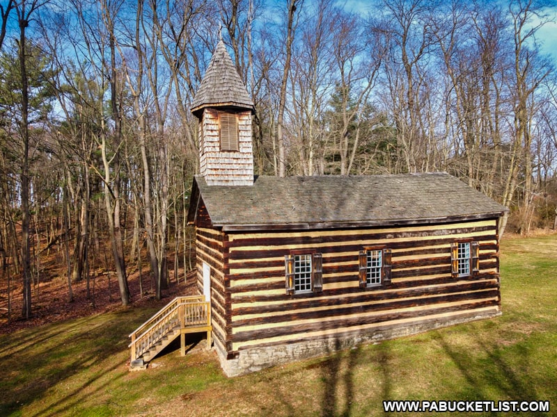 A side view of the Severin Old Log Church in Clearfield County.