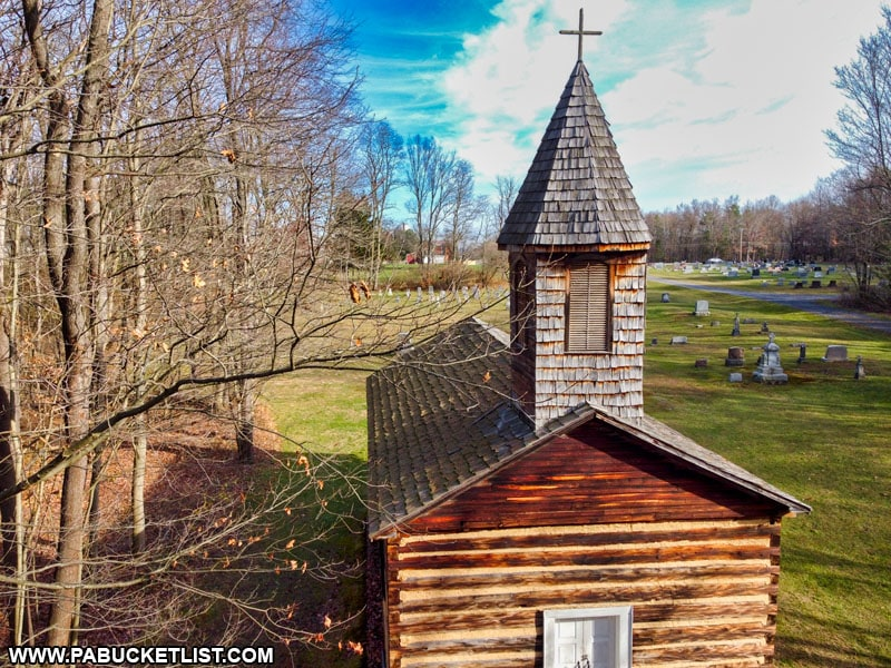 The steeple on the Severin Old Log Church in Clearfield County.
