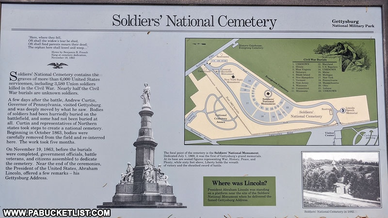 A historical marker at Soldiers' National Cemetery in Gettysburg.
