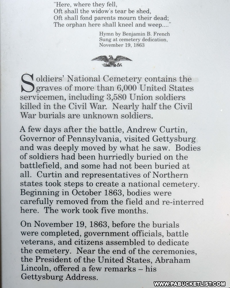Historical marker at the National Cemetery in Gettysburg PA
