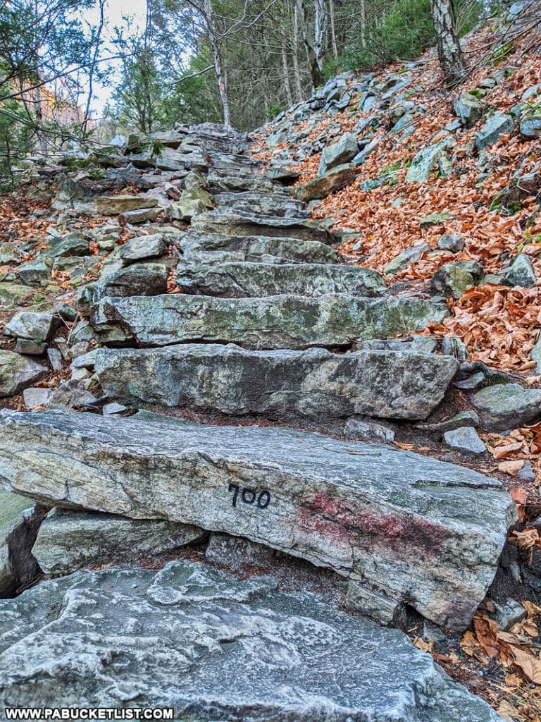 Step 700 along the 1000 Steps near Mount Union in Huntingdon County PA