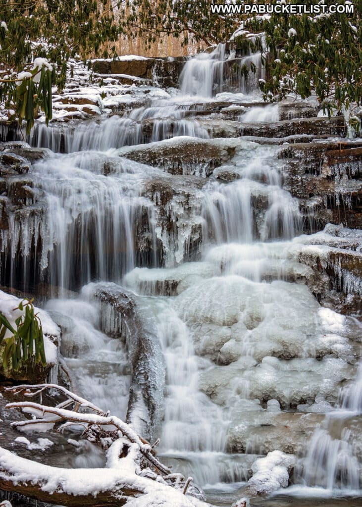A winter scene at Sugar Run Falls at Ohiopyle State Park in Fayette County.