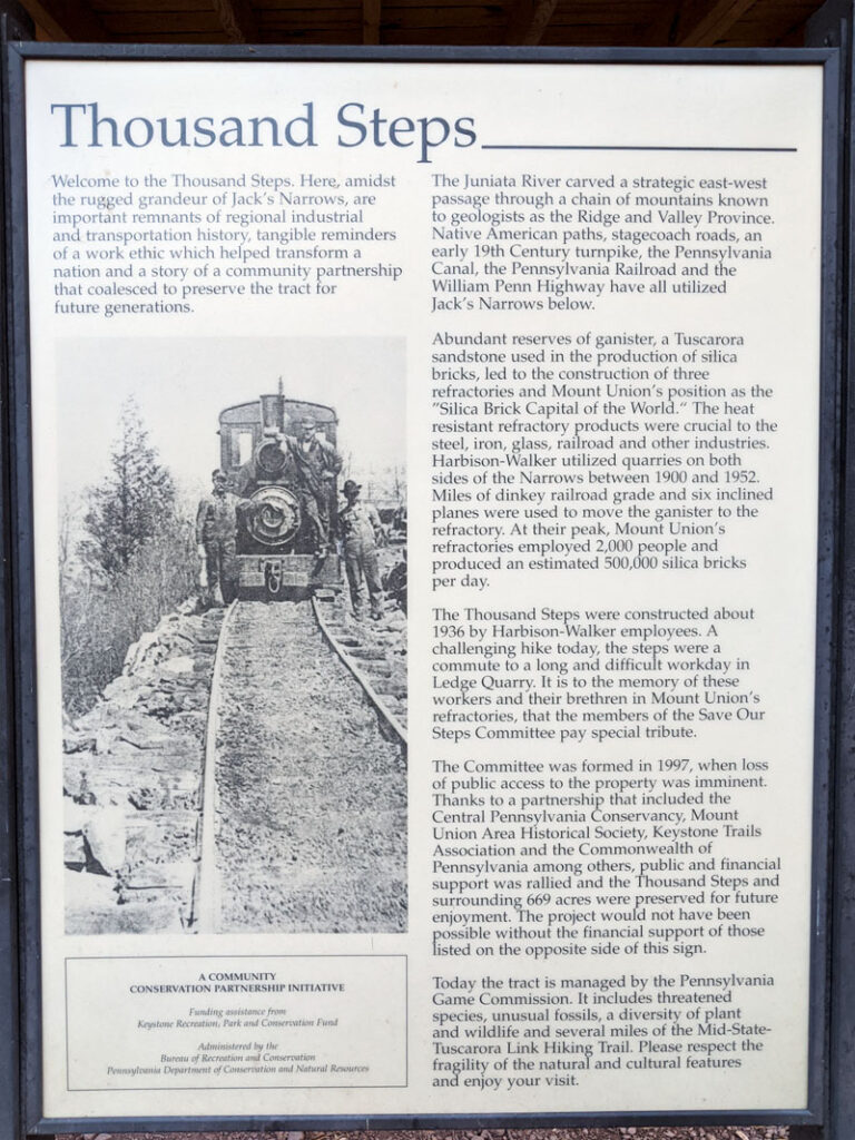 History of the 1000 Steps in Huntingdon County Pennsylvania