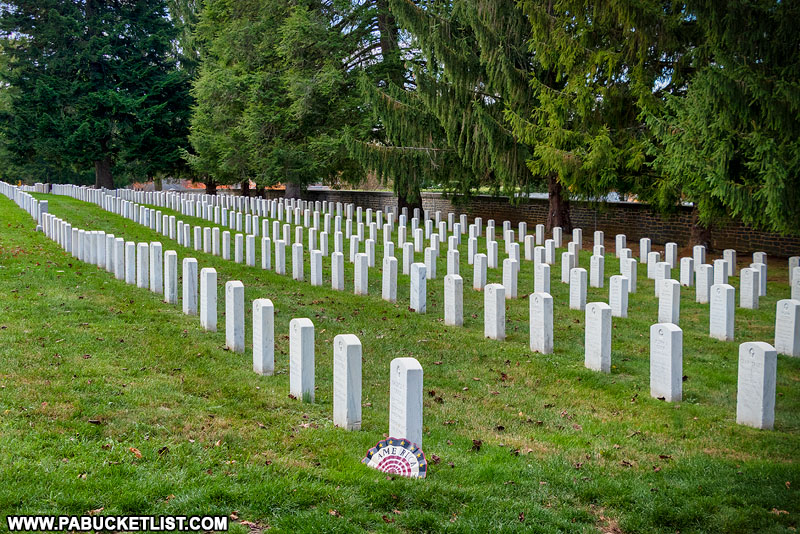 Graves of WWII veterans at the Gettysburg National Cemetery.