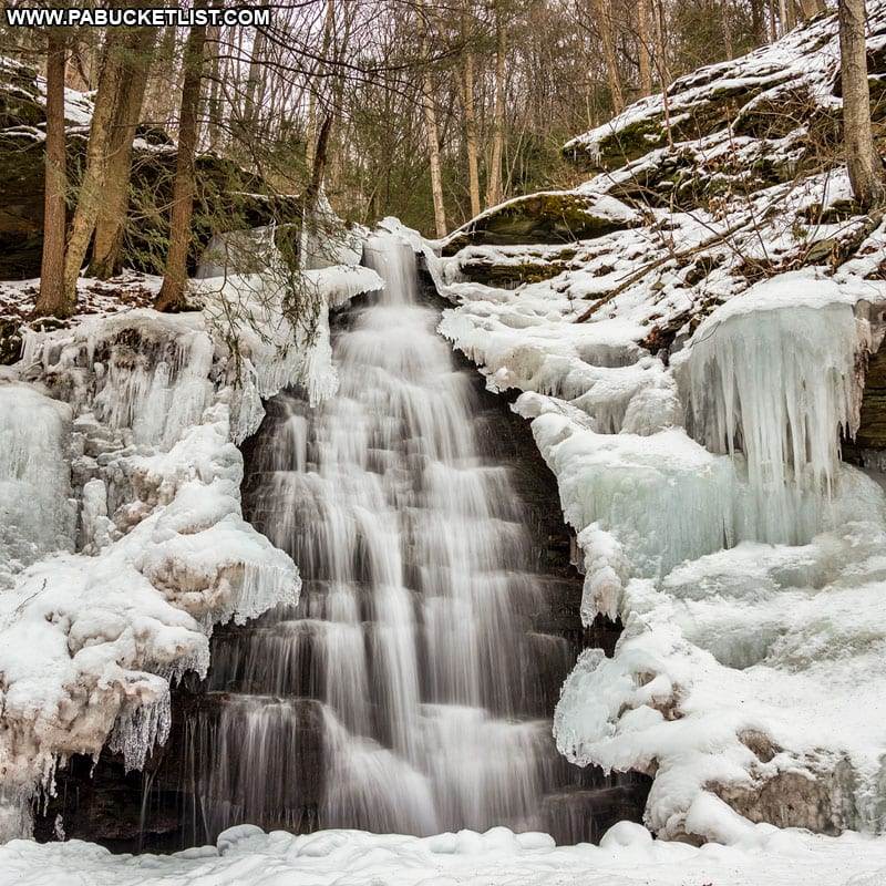 A winter scene at Water Tank Hollow Falls along the Pine Creek Rail Trail near Blackwell.