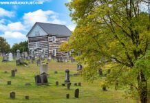 Fall foliage in Bedford County at the 1806 Old Log Church.