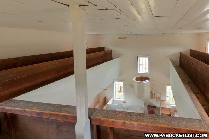 Balcony of the 1806 Old Log Church in Schellsburg Pennsylvania.