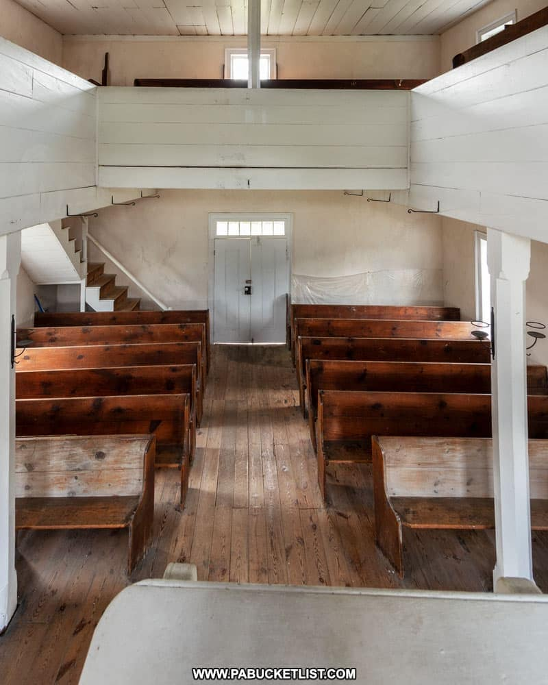 The two story interior of the 1806 Old Log Church in Bedford County Pennsylvania.