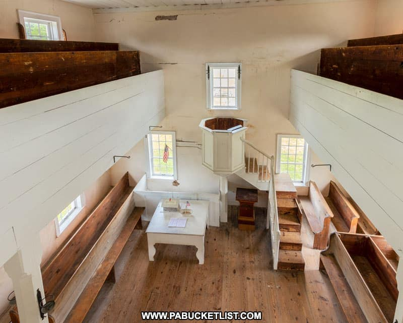 The tea cup pulpit inside the 1806 Old Log Church in Schellsburg PA.