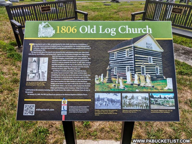 Informational plaque about the 1806 Old Log Church near Schellsburg, Pennsylvania.