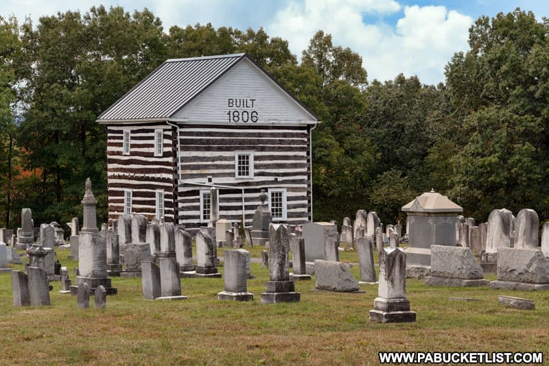 The 1806 Church, at is sometimes called, along the Lincoln Highway in Bedford County, Pennsylvania.