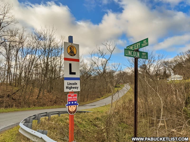 Cemetery Road near Schellsburg, original route of the old Lincoln Highway.