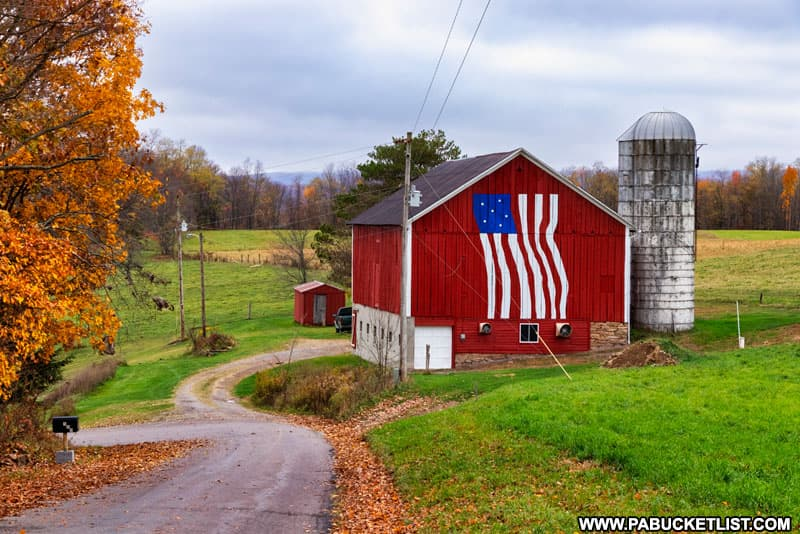 Patriotic barn along Faidley Road in Somerset County PA