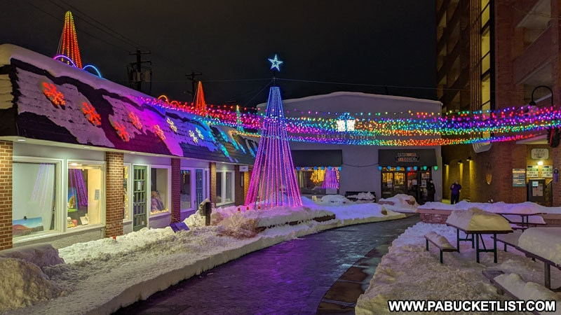 Christmas lights at MLK Plaza on Fraser Street in State College PA.