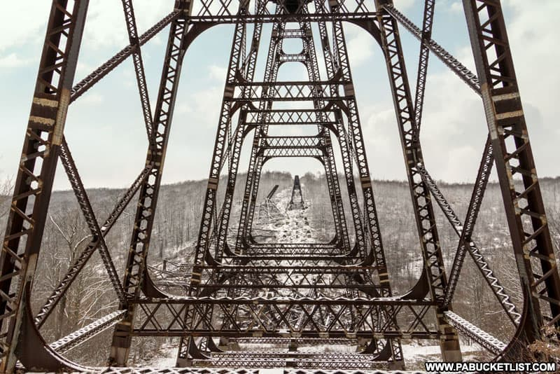 Looking through the remaining steel towers at the Kinzua Skywalk in McKean County Pennsylvania.