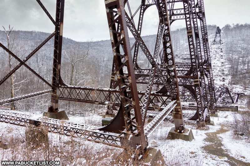 The steel structure of the Kinzua Viaduct in McKean County, Pennsylvania.