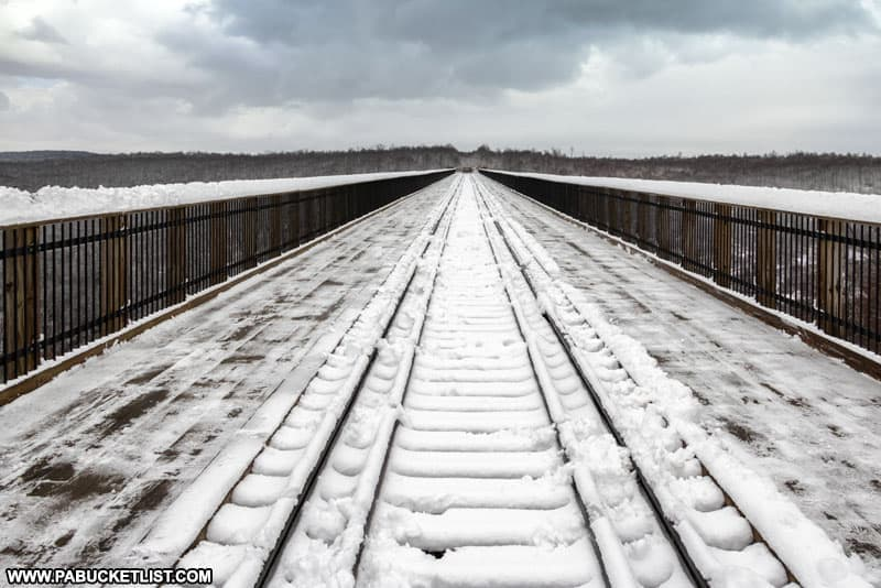 Train tracks along the Kinzua Skywalk at Kinzua Bridge State Park.