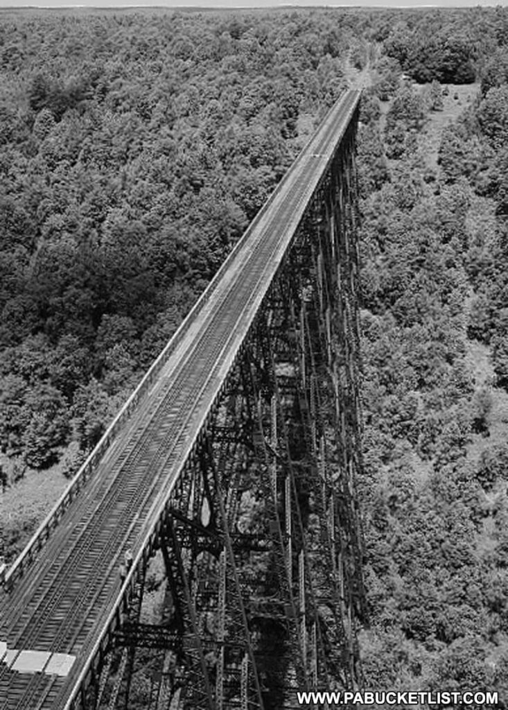 Aerial view of the Kinzua Viaduct in 1970.