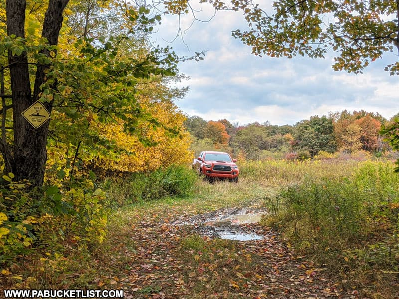 Parking area along Earl Ansell Road at Laurel Ridge State Park.
