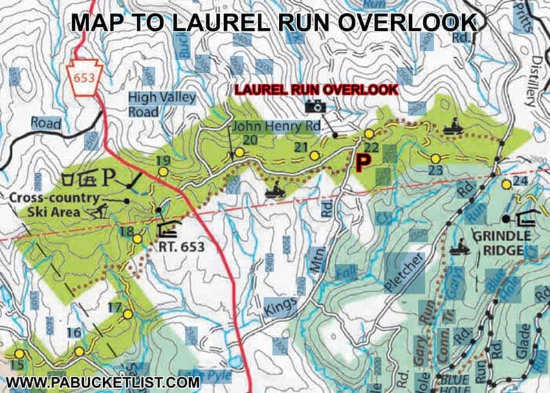 A map of the Laurel HIghlands Hiking Trail near Laurel Run Overlook.