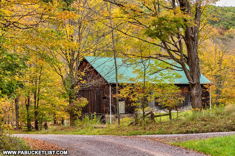 Fall foliage and old barn along Commissary Road in Somerset County PA