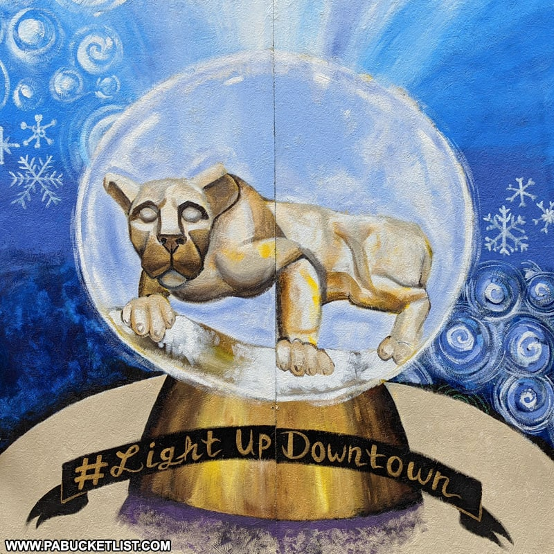 Nittany Lion snow globe in MLK Plaza State College PA