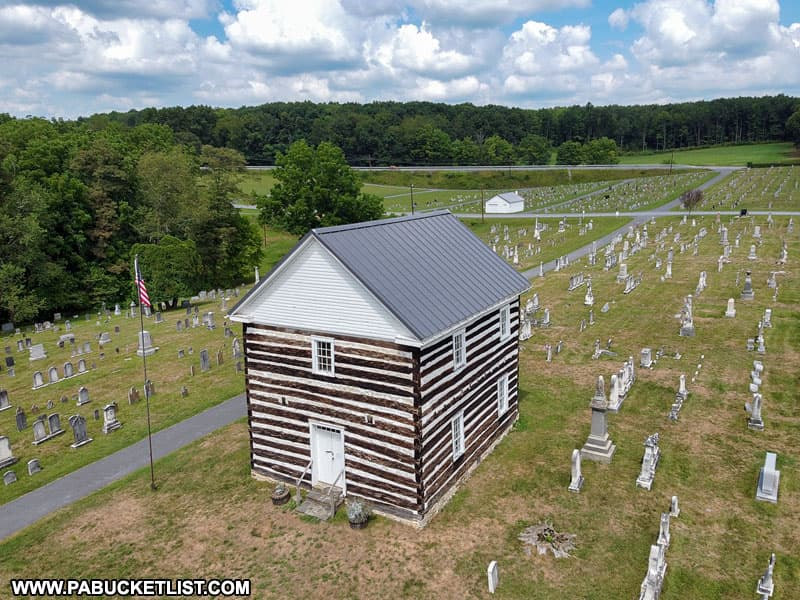 Aerial view of the Old Log Church and cemetery in Bedford County, Pennsylvania.