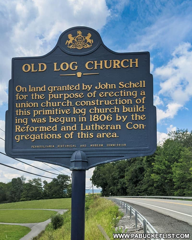Old Log Church historical marker along the Lincoln Highway near Schellsburg PA.
