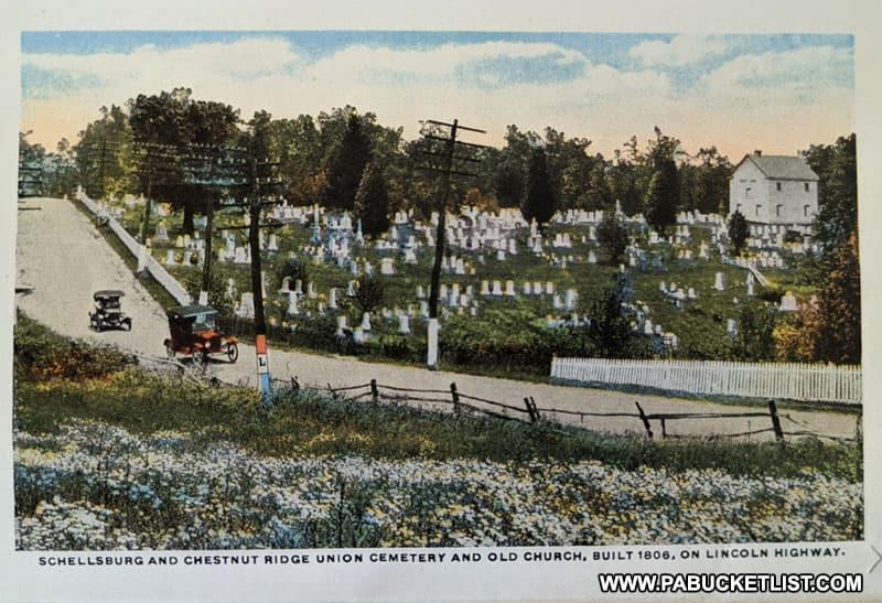 An early postcard of the Old Log Church along the original Lincoln Highway near Schellsburg Pennsylvania.