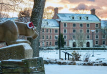 The Penn State Lion Shrine on Christmas morning.
