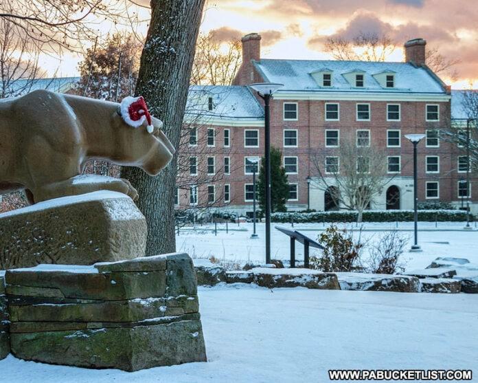 The Penn State Lion Shrine on Christmas morning.