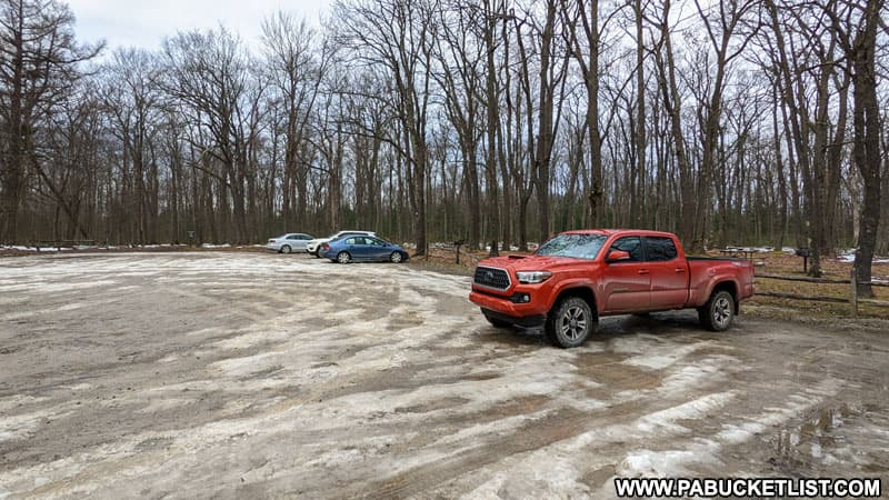 Parking area at Laurel Summit State Park near the Spruce Flats Bog trail head.