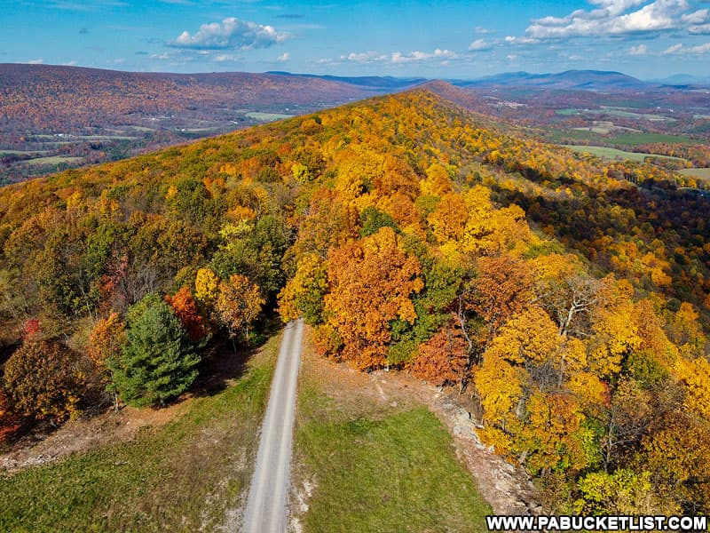Aerial view of Summit Road in Fulton County PA.