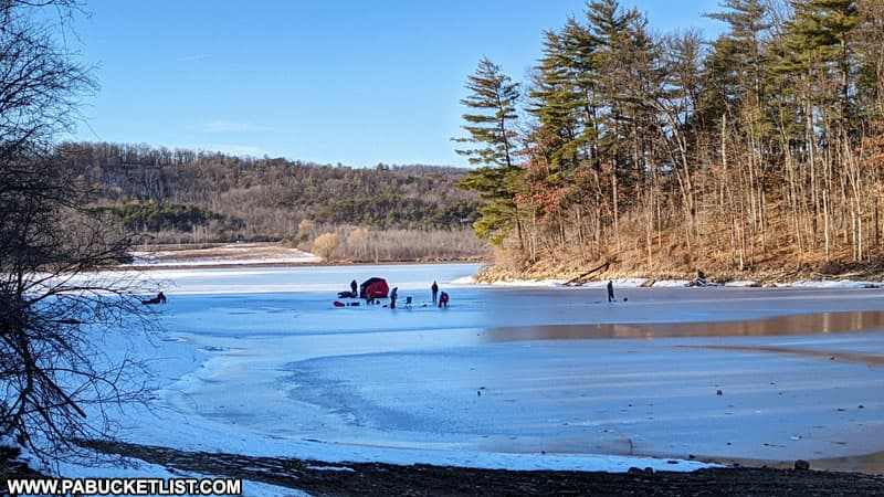 Ice fishing at Bald Eagle State Park.
