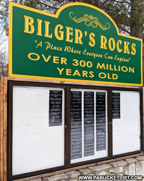 Bilgers Rocks sign near the entrance to the park.