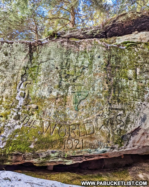 The World is Looking to Us carving at Bilgers Rocks