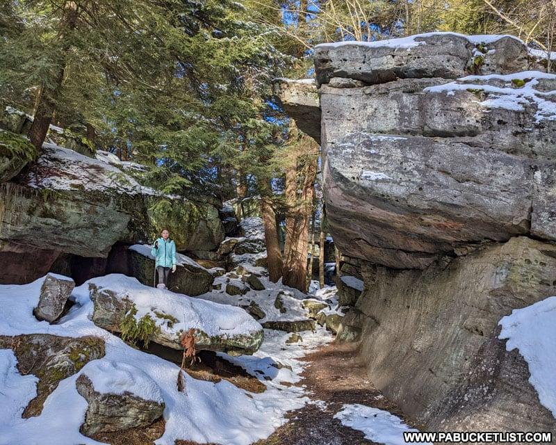 The entrance to Bilgers Rocks near Grampian Pennsylvania.