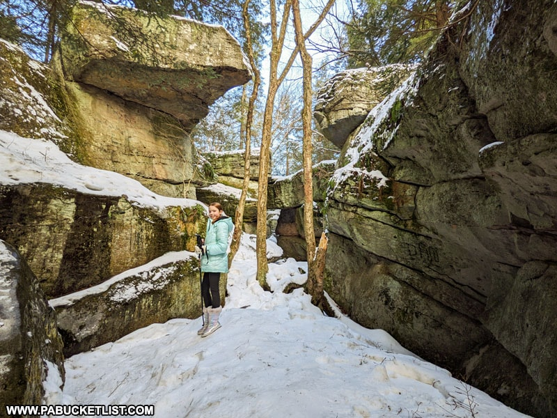 A winter afternoon at Bilgers Rocks in Clearfield County.